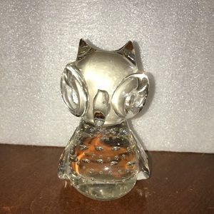 CRYSTAL OWL PAPERWEIGHT Vintage Art  Glass Clear